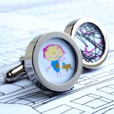 Personalised cufflinks with your children's artwork