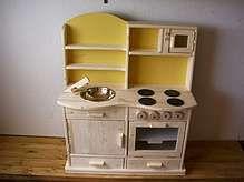159.    Bild: Holz Kinderküche Spielküche mit Mikrowelle Arbeitshöhe 54cm/60cm/65cm/70cm