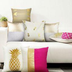 Gold Solid Linen Pillowcase gold shams Matelic Cushion for home Decorative, sofa ,chair Decorative Cushion Home Decor throw