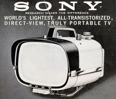 """Sony Portable TV 1960 Back when Style was NOT lost to function - What ever happened to the """"Art"""" of manufacturing ? Radios, Vintage Television, Television Set, Tvs, Vintage Tv, Vintage Posters, Gi Joe, Portable Tv, Sony Tv"""