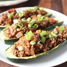 Paleo Taco Stuffed Zucchini- add salsa and plain Greek yogurt and green onions to be WLC compliant
