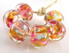 Play Day Encased Artisan Lampwork Beads - Handmade Lampwork Glass Beads - Pink, Orange, Blue, Encased - SRA (Set of 6 Beads). $24.00, via Etsy.