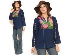 70s Embroidered Mexican Top / Navy Blue by GravelGhostVintage, $46.00