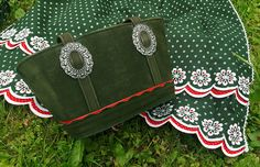 Vintage suede basket and half apron set