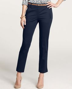 This navy capri works so well with heels or flats.  Great wear to work or out shopping pant.
