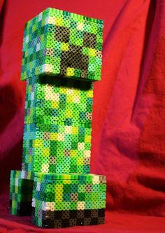 10 inch 3D Perler Bead Minecraft Creeper Inspired by BraveDeity, $80.00