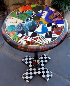 Hand painted by me, Debbie Criswell, One of a kind Alice In Wonderland themed table. Sold