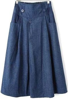 Elastic Waist With Pockets Blue Skirt