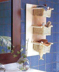 Repisa con cestitas para el baño | Ideas para Decoracion