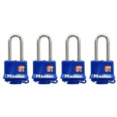 1-9/16 in. Weather Resistant Laminated Steel Padlock with 2 in. Shackle (4-Pack), Blue