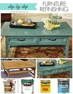 This Furniture Refinishing Project transforms a boring pine coffee table with a couple of coats of teal paint. Step by step how to.: