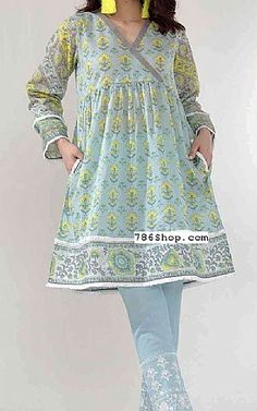 Sky Blue Lawn Suit (2 Pcs) | Buy Khaadi Pakistani Dresses and Clothing online in USA, UK Pakistani Fashion Casual, Pakistani Dresses Casual, Pakistani Dress Design, Casual Dresses, Pakistani Frocks, Pakistani Lawn Suits, Designs For Dresses, Dress Neck Designs, Blouse Designs