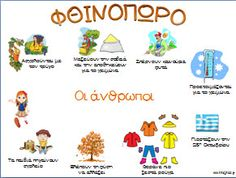 Εποπτικό υλικό για τις 4 εποχές - Φθινόπωρο Preschool Education, Preschool Kindergarten, Teaching Resources, Autumn Activities, Book Activities, Learn Greek, School Calendar, Speech And Language, Greek Language