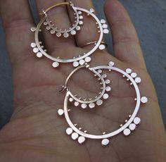 Earrings | Sasha Bell. 'Tribal Hoops'. Sterling silver.