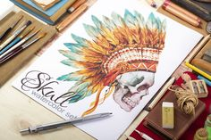 Check out Skull set (watercolor,vector) by Watercolor Gallery on Creative Market