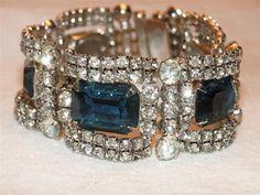 Kramer New York Rhinestone & Sapphire Blue Rhinestone Curved Link Bracelet