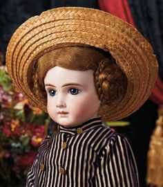 The Lifelong Collection of Berta Leon Hackney: 391 Beautiful French Bisque Bebe A.T. by Andre Thuillier, Size 10, in Couturier Dress