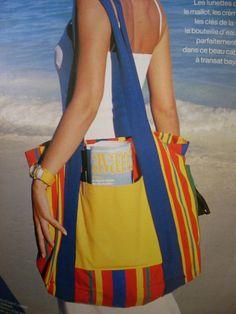 patron à reproduire grand sac de plage en toile à transat : Patrons par serroise