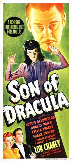 Weird Weird World — Universal monsters Son of Dracula . Horror Movie Posters, Sci Fi Horror Movies, Classic Movie Posters, Classic Horror Movies, Scary Movies, Classic Films, Old Movies, Vintage Movies, Terror Movies