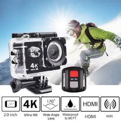 """""""Features & Benefits"""" Trainshow 4K Full HD 2.0 inch LCD Screen Waterproof Sports Action Camera Cam DV 16MP DVR Helmet Camera Sports DV Camcorder with 2.4G Remote control"""