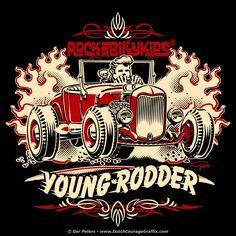 Kool Kouture for all the Kustom Kiddies!#hotrod #wear #rockabilly #kids #hotrod #hot #rod #Tshirt #artwork