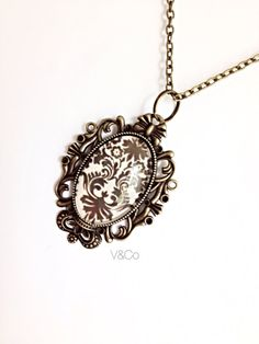 Brown Damask Glass Pendant Necklace Vintage Style  by VelazioAndCo, $21.99