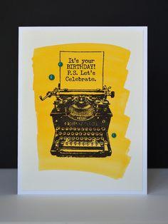 It's Your Birthday - Yellow - Handmade Card - Watercolor - Typewriter by MyRandomDesigns on Etsy