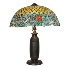 United States  Circa 1910  This impressive, large leaded glass lamp was executed by the Chicago Mosaic Company.