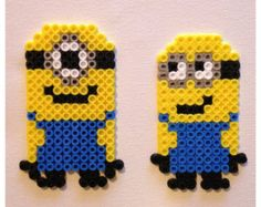 Minions perler beads by hamabead_creations Perler Bead Designs, Pearler Bead Patterns, Diy Perler Beads, Perler Bead Art, Perler Patterns, Loom Beading, Beading Patterns, Pixel Art, Minion Christmas