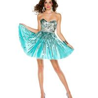 Mac Duggal Prom 2013- Aqua And Silver Cocktail Dress - Unique Vintage - Cocktail, Pinup, Holiday & Prom Dresses.