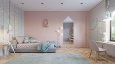 mur chambre rose poudré