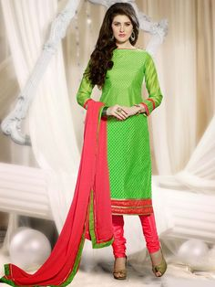 Astonishing light green color resham embroidered chanderi silk kameez with glossy zari work. Item Code : SLHD61008 http://www.bharatplaza.com/new-arrivals/salwar-kameez.html