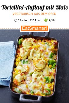Vegetarischer Tortellini-Auflauf Vegetarian tortellini casserole with sweetcorn and corn & fragrant oven dish with noodles.de The post Vegetarian tortellini casserole appeared first on Pink Unicorn. Gluten Free Recipes For Dinner, Healthy Dinner Recipes, Healthy Snacks, Vegetarian Recipes, Vegetarian Casserole, Ovo Vegetarian, Casserole Recipes, Pasta Recipes, Cooking Recipes