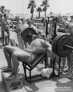Arnold Benching at muscle beach