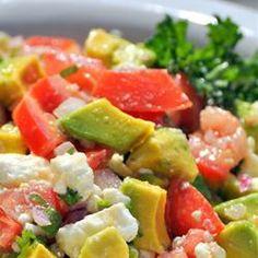 Avocado Feta Salsa plum tomatoes, avocado, red onion, garlic clove, fresh parsley & oregano, olive oil, red or white wine vinegar, crumbled feta - Yum!
