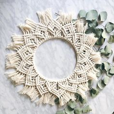 More circular macrame pieces, please. Made by @bonnybeedesigns and found in #knotstiedwithrf So pretty! ❤️