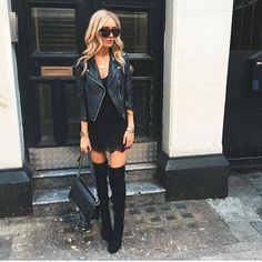 Over the knee boots, black leather jacket, feminine lace dress hem
