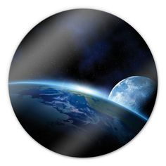 Planet Earth Glass art - round - This glass print is available in various sizes.