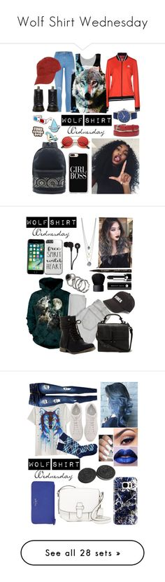 """Wolf Shirt Wednesday"" by a-valen ❤ liked on Polyvore featuring wolfshirtwednesday, Simplify, River Island, Le Coq Sportif, Dr. Martens, Wood Wood, Stay Home Club, ban.do, ZeroUV and New Directions"