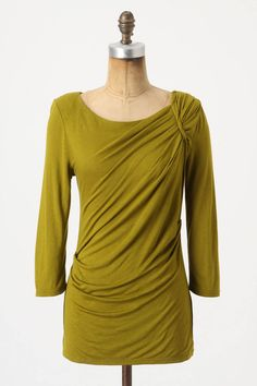 Draped Pullover: Flattering and comfy. Made of modal and wool, hand wash. Also available in Red and Brown, $68. #Pullover #Tops