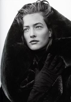 Tatiana Patitz in Azzedine Alaïa Coat, photographed by Peter Lindbergh, 1986