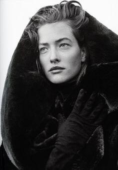Tatiana Patitz in Azzedine Alaïa Coat, photographed by Peter Lindbergh, 1986