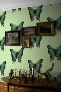 This beautiful clean butterfly print is a more toned down version of timorous beasties if you can imagine! Its stunning combination of vibrancy and subtlety pair well in any home. Butterfly Wallpaper, Fabric Wallpaper, Wall Wallpaper, Pattern Wallpaper, Butterfly Print, Green Wallpaper, Best Nature Wallpapers, Interior And Exterior, Interior Design