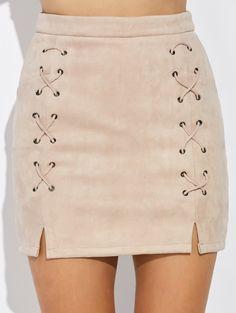 Double Criss Cross Faux Suede Slit Skirt