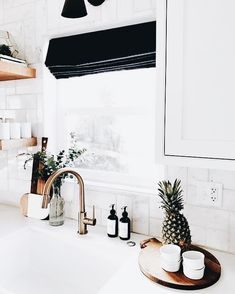absolutely love this kitchen | kitchen sink, blinds, pineapple, soap, home inspiration, house, living space, room, scandinavian, nordic, inviting, style, comfy, minimalist, minimalism, minimal, simplistic, simple, modern, contemporary, classic, classy, chic, girly, fun, clean aesthetic, bright, white, pursue pretty, style, neutral color palette, inspiration, inspirational, diy ideas, fresh, stylish, 2017, sophisticated