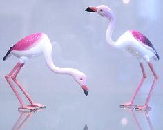 Lampworked glass Flamingos by Vittorio Costantini