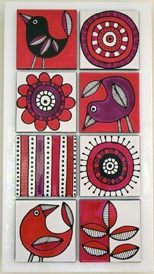 Hand painted Tiles / mini canvas art More