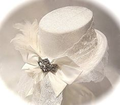 top hat bridal veils | Bridal White Top Hat & Veil Victorian Lace OOAK by Marcellefinery, $78 ... Steampunk Hut, Steampunk Top Hat, Steampunk Wedding, Steampunk Costume, Bridal Hat, Bridal Veils, Wedding Veils, Wedding Top Hat, Victorian Lace