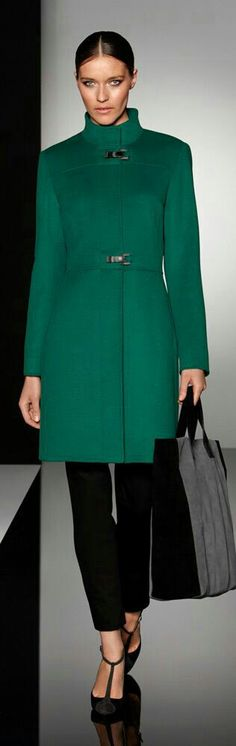 Love a green coat in winter, particularly with a high neck. #coat