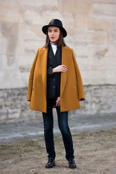 Oversized coat and leather hat